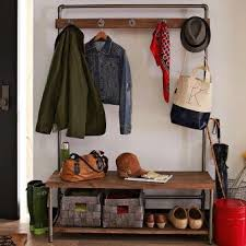 Industrial Coat Rack Bench Industrial Pipe Entryway Storage Bench With Coat Rack And Waved 24