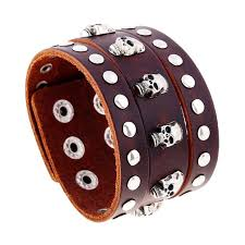 aloy skeleton studded leather cuff bracelet punk rock brown cowhide thick wide bangle whristband adjustable black jewelry men gifts supplies girls charm