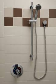 ada compliant hand shower shower valve system with glide bar