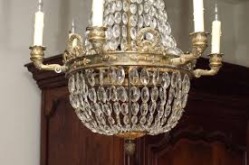 bronze and crystal empire chandelier with 6 arms in excellent condition for in new orleans