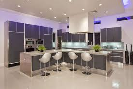 Kitchen  Fantastic Blue Lighting Kitchen Decor With Rectangle - White modern kitchen
