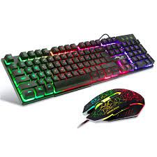 Led Light Keyboard Bakth Multiple Color Rainbow Led Backlit Mechanical Feeling Usb Wired Gaming Keyboard And Mouse Combo For Working Or Games
