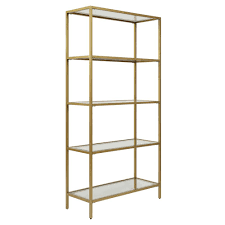 Glass shelves bookcase Tesso Marcello Gold Glass Shelf Bookcase Home Depot Carolina Cottage Marcello Gold Glass Shelf Bookcasecl7234ggld