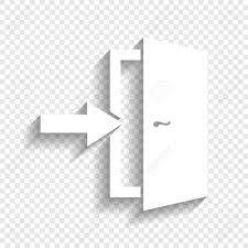 door exit sign vector white icon with soft shadow on transpa background stock
