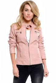more views melanie faux leather jacket in baby pink