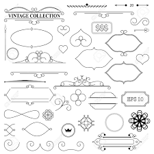 elegance old hand drawing set outline ornate swirl leaves label decor elements in vector collection borders for book photo al or restaurant menu