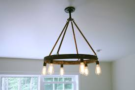custom made bourbon barrel ring chandelier featuring 6 edison bulb
