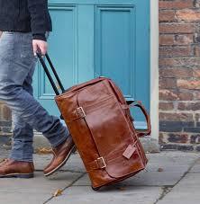 luxury mens wheeled leather travel bag dino l