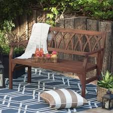 outdoor backyard seat 4ft garden bench dark brown weather resistant wood finish