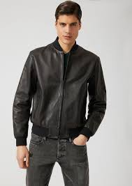 vegetable tanned nappa leather jacket with debossed logo man emporio armani