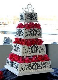 beautiful white and red wedding cakes. Wonderful And Weddingcakewhiteblackredflowers4tiers Intended Beautiful White And Red Wedding Cakes U