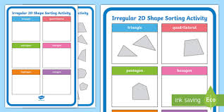 Sorting 2d Shapes Venn Diagram Ks1 Ks1 Irregular 2d Shape Sorting Activity 2d Shape Sorting