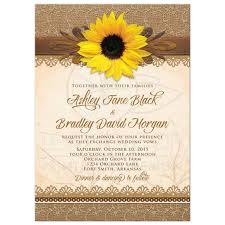 Burlap And Lace Wedding Invitations Wedding Invitation Rustic Sunflower Burlap Lace Wood