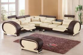 leather sectional living room furniture. Furniture. Adorable Decorating Ideas Using L Shaped Brown Cream Leather Sectional Sofas And Rectangular Living Room Furniture