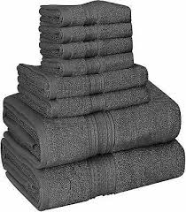8 piece towel set grey 2 bath towels 2 hand towels and 4 washcloths