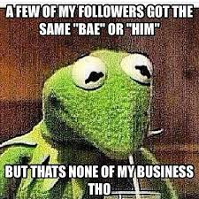 kermit meme none of my business cheating.  Kermit Thatsnoneofmybusiness AFEW OF MYFOLLOWERS GOT THE SAME BAE OR HIM BUTTHATS  NONE MYBUSINESS THO Inside Kermit Meme None Of My Business Cheating