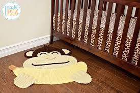 crochet pattern pdf by irarott for making an adorable banana monkey rug or safari area mat