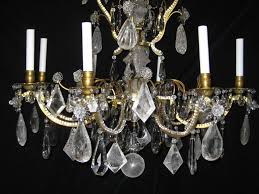 hand carved large antique french louis xvi baguès bronze and cut rock crystal chandelier for