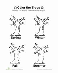 Color the Trees | Worksheet | Education.comKindergarten Weather & Seasons Worksheets: Color the Trees