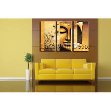 Geen Houten Frame 3 Stuks Abstract Boeddha Moderne Kunst Muur