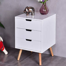 vegas white glass mirrored bedside tables. White Side End Table Nightstand W/ 3 Drawers Mid-Century Accent Wood Furniture Vegas Glass Mirrored Bedside Tables U
