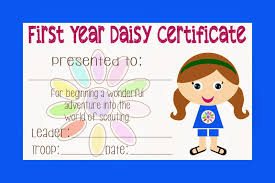 girl scout daisy certificate