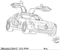 1024x846 mercedes benz sls amg lineart by canis simensis on deviantart
