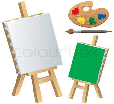 strikingly beautiful canvas clipart cartoon ilration of easel paintbrush and palette