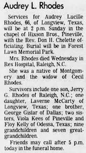 Obituary for Audrey Lucille Rhodes (Aged 66) - Newspapers.com