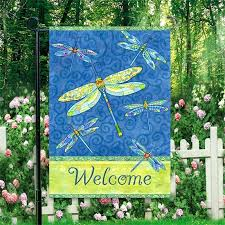 garden banners. Dragonfly Garden Flags Online Shop Flowers And Birds Flag Hot Welcome Banners Beautiful Butterfly G