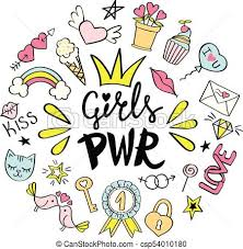 Girls Power Lettering With Girly Doodles For Valentines Day Card