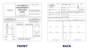 Printable Identification Card Child Id Card Template Printable Emergency Kits Cards Ink Strips