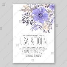 Violet Purple Lavander Anemone Floral Wedding Invitation Vector Printable Template Invitation Template