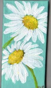 white shasta daisy painting on aqua original mini canvas mini easel acrylics miniature painting daisies painting acrylic painting