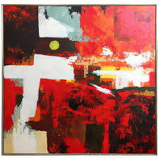 period circa 1960s abstract oil painting by lee reynolds for