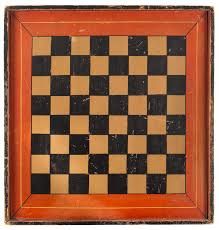 antique gameboard checkers paint decorated pine 16 x 17