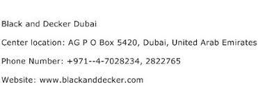 Black And Decker Dubai Service Center Phone Number Description
