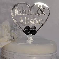 Wedding Or Anniversary Heart Cake Topper Personalised With Couples