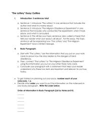 sample literary analysis essay outline  the lottery essay outline