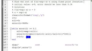 fixed point iteration method to find the root of the equation using matlab you