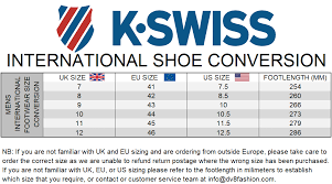 K Swiss Size Chart Inches K Swiss Shoe Size Conversion Chart Best Picture Of Chart