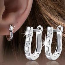 <b>2019 Pendientes</b> Luxury Silver Color Crystal <b>Earrings</b> Flash CZ ...