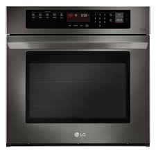 single electric wall oven with convection in black stainless steel