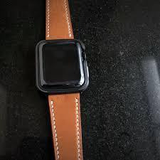 handmade handstitched watch strap in hermès golden barenia leather for her iwatch luxury watches on carou