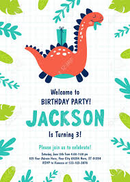 Dinosaur Birthday Invitation Dinosaur Birthday Party Invitation Vector Illustrations