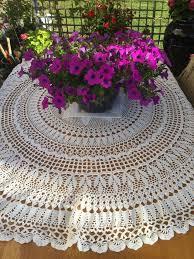 white cotton tablecloth round model with handmade crochet 172 cm diameter