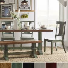 Eleanor Sage Green Farmhouse Trestle Base Panel Back 6-piece Dining Set by  iNSPIRE Q Classic - Free Shipping Today - Overstock.com - 21224740