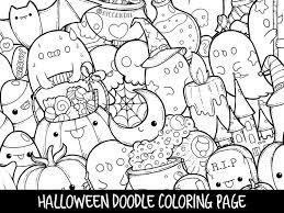 Halloween Doodle Coloring Page Printable Cutekawaii Etsy