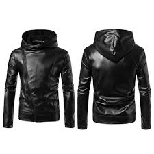 classic cable stayed zipper coat looks fashionable and nice solid color long sleeves design easy to match other clothes made of quality leather material