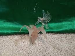 blown glass hummingbird flower nectar figure figurines hanging ornament pink